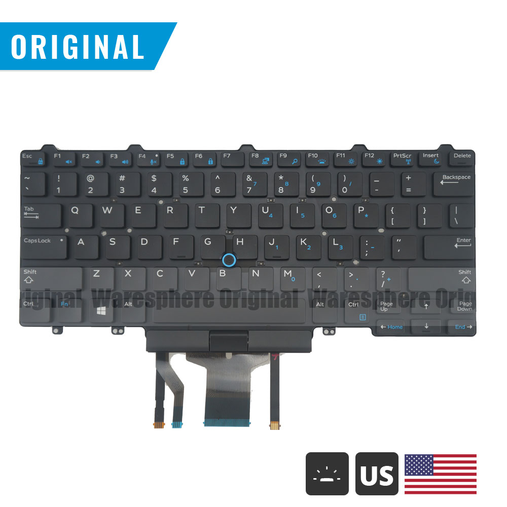 Backlit Keyboard for <font><b>Dell</b></font> Latitude 7450 7480 5488 <font><b>7490</b></font> 5480 5490 E7480 E7490 Black US image