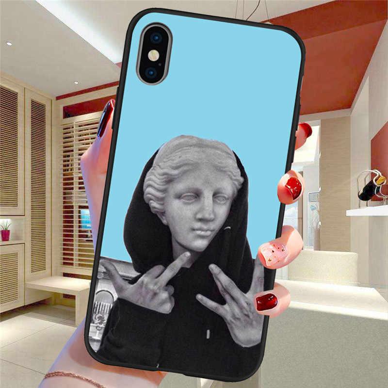 Статуя из мультфильма абстрактная художественная роспись для iPhone X XR XS Max 5 5S SE 6 6S 7 8 Plus Oneplus 5T Pro 6T чехол для телефона Etui