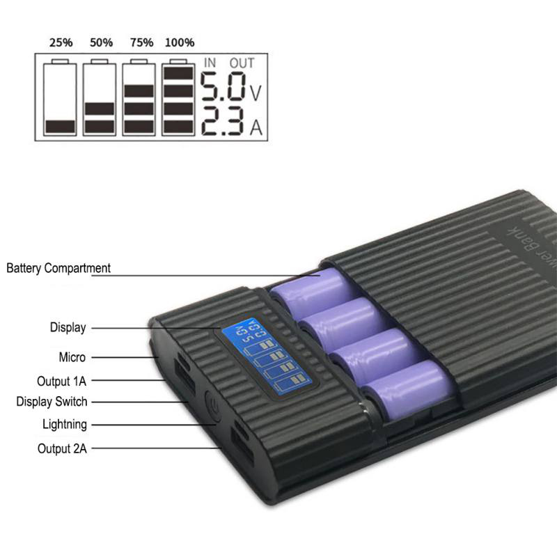 4 x 18650 DIY LCD Display Battery Bank Portable Battery Shell Box Case DIY KIT Digital Power Bank Battery Storage Cases