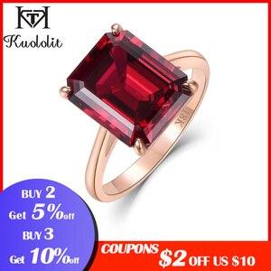 Image 2 - Kuololit 7.4ct 10k sólido ouro personalizar laboratório crescido rubi anel para mulher 10x12mm rubi rosa anéis de ouro noivado noiva jóias finas