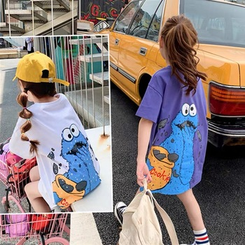 Summer loose mid-length girl T-shirt cute novelty cartoon pattern short-sleeved shirt American clothes fashion medium and large