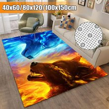 Home Fashion Decoration 3D Animal Wolf Rug Flannel Carpet Mat For Living Room Bedroom Hallway Carpet(China)