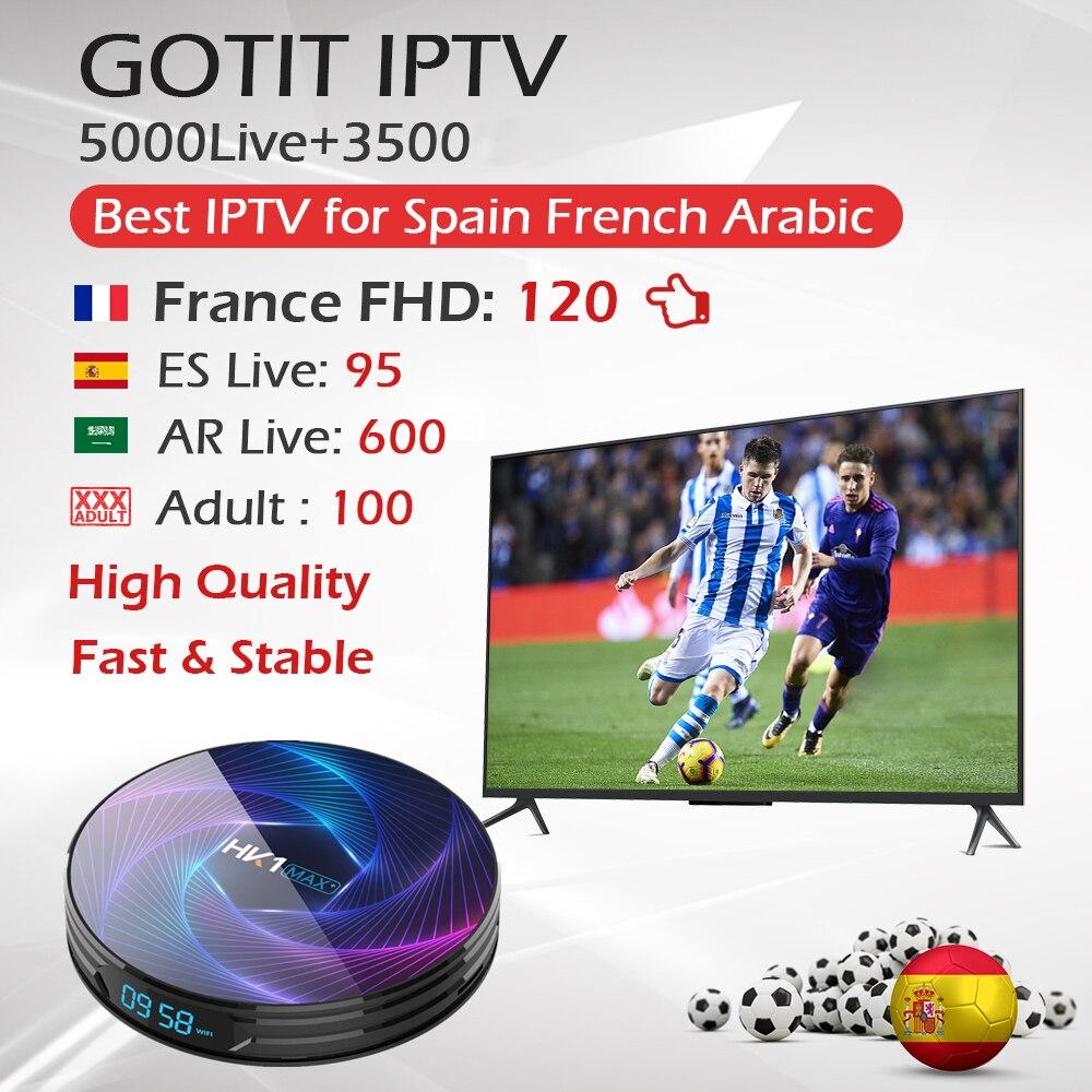 HK1 MAX+ Android 9.0 TV Box RK3368 4K/Dual WiFi BT 1000M&King OTT IPTV Subscription Europe France Arabia Belgium IPTV Box HK1MAX(China)