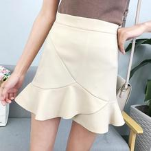 Yfashion Women Summer Skirt Fashion OL Lady Solid Color High Waist Ruffles Flouncing Safety Stretch Skirts Cotton Fishtail