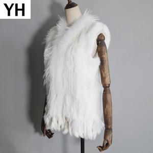 Image 1 - 2020 Women Real Rabbit Fur Vest Handmade Knitted Tassels 100% Real Genuine Rabbit Fur Gilet Real Raccoon Fur Collar Waistcoat
