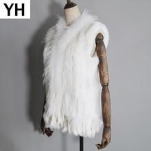 Chaleco de piel de conejo auténtica para mujer, borlas de punto hechas a mano, chaleco 100% piel de conejo auténtica, chaleco de Cuello de piel de mapache 2020