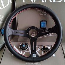 Универсальный 14 дюймов ND Кожаный авто гоночный руль глубокий кукурузный Дрифтинг спортивный руль с логотипом