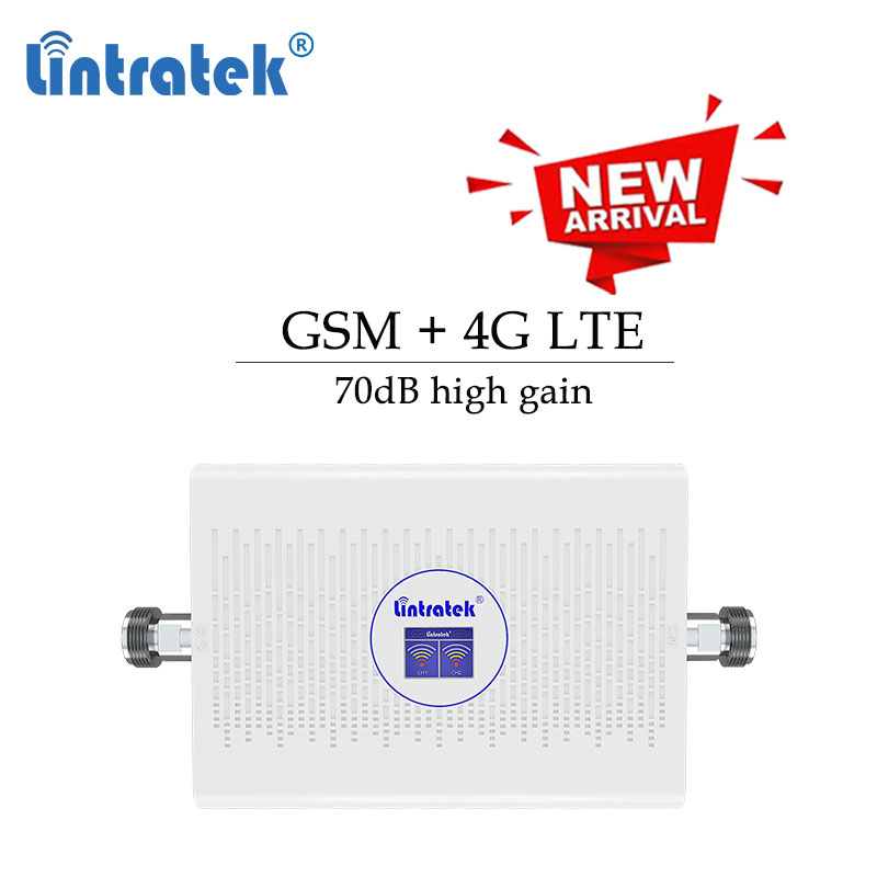 Lintratek GSM 900 4G Signal Booster 1800  900mhz Cellular Booster 70db Gain Signal Repeater 1800mhz Amplifier Data Voice Kit S6