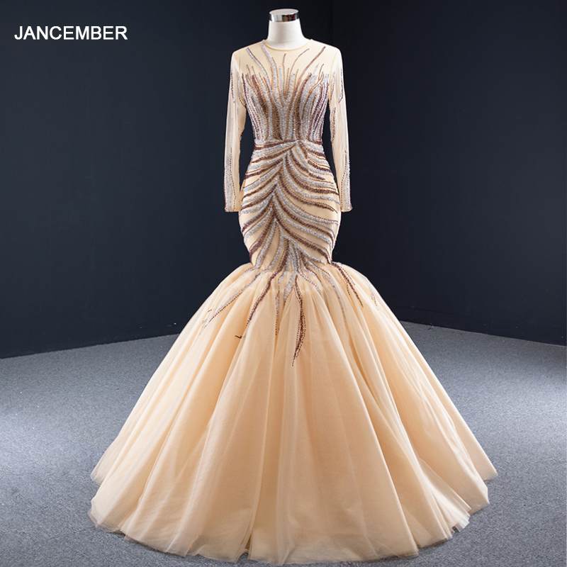 J66946 Jancember Sexy Gold Mermaid Evening Dresses With Lace O Neck Pattern Long Evening Gown For Women Vestidos De Finalistas