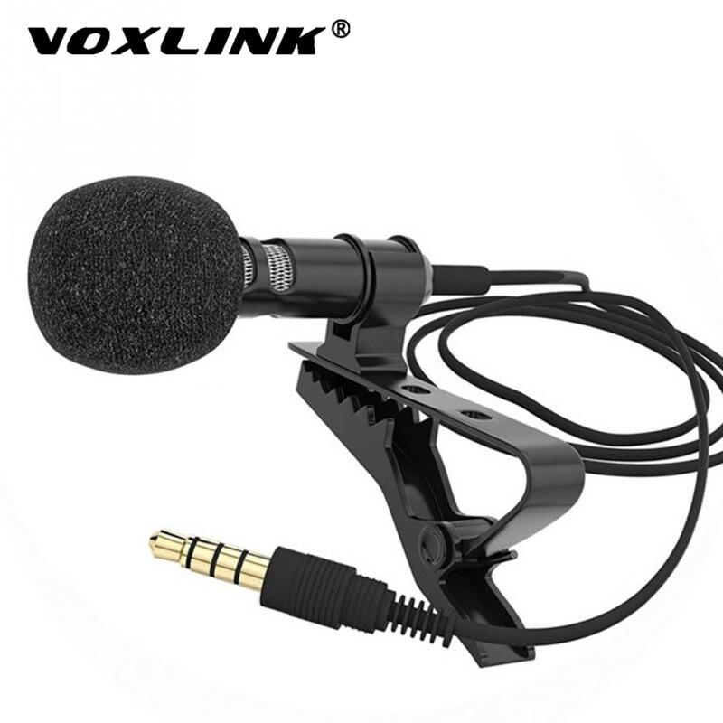 VOXLINK de Clip de 3,5mm Collar de micrófono para teléfono móvil hablando en la clase de 1,5 m soporte Clip Vocal de Audio de micrófonos
