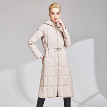 High quality winter 90% white duck down jacket down jacket 2019New women's coating warm thick hooded women's long down jacket XL недорого