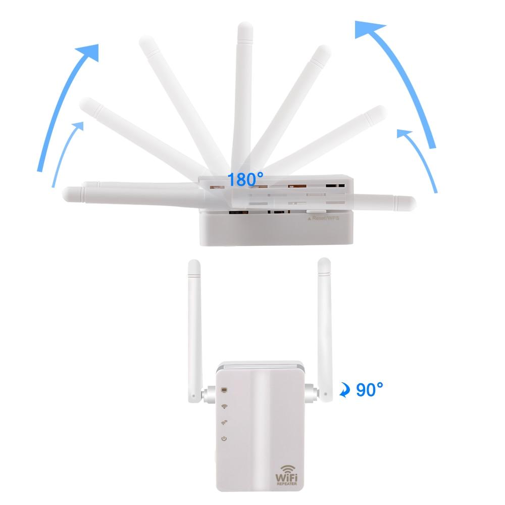 Drahtlose WiFi Repeater Signal Verstärker Wi-Fi Range Extender 300M 2,4G Wand Stecker Signal Booster Repeater mit Externe Antenne