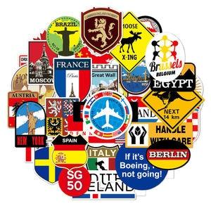 Image 2 - 39Pcs Fashion Brand Logo Reizen Stickers Wereldberoemde Toerisme Wonderen Land Regio S Logo Decals Stickers Voor Bagage Laptop