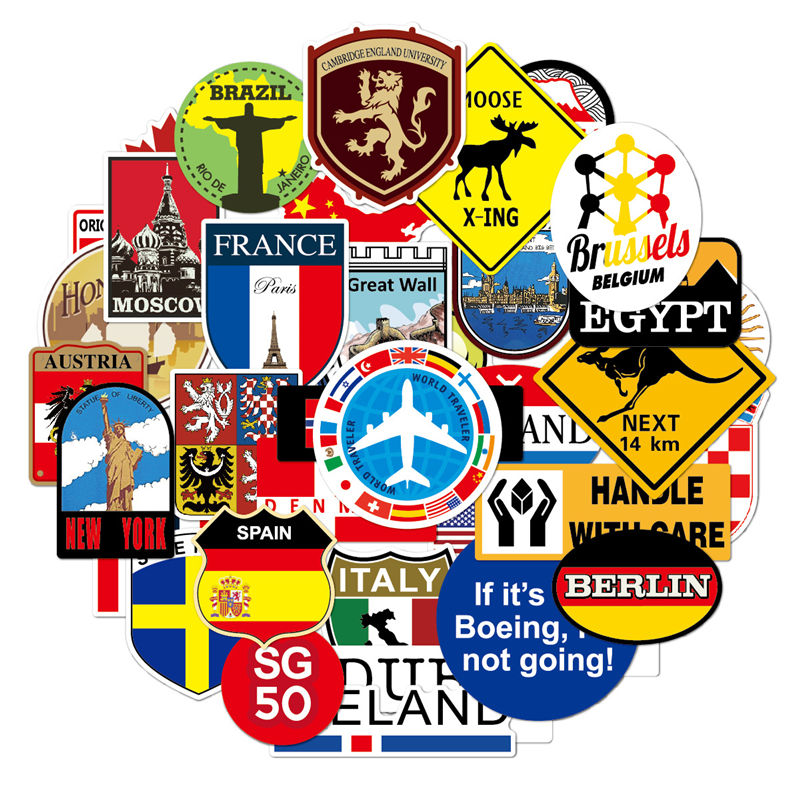 Image 2 - 39Pcs Fashion Brand Logo Travel Map Sticker Waterproof Vinyl Stickers For Laptop Cover Skateboard IPad MacBook Car Luggage Decal-in Laptop Skins from Computer & Office