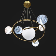 Post-modern LED chandelier living room lighting fixtures bedroom hanging lamp Nordic dining luminaires Wandering earth design
