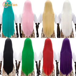 MEIFAN Cosplay perruque noir blond bleu rouge rose gris violet cheveux pour la fête 100CM longue droite synthétique Cosplay perruques pour les femmes