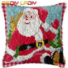 Набор крючков с защелкой Сделайте свою собственную подушку Санта Клаус предварительно напечатанный холст крючком чехол для подушки с защелкой чехол для подушки Искусство и ремесла