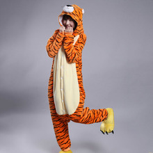 Tiger Onesie Kigurumi For Adult Animal Pajama Funny Jumpsuit Warm Comfortable Home Sleepwear Couple Outfit Festival Suit Overall