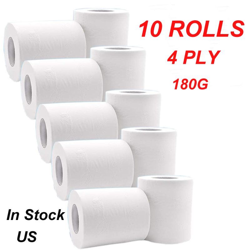 Ultra Soft White Toilet Paper 10 Roll 4 Layers Bath Roll Paper High Absorbent Bulk Toilet Paper Recycled Tissue Enviro Friendly