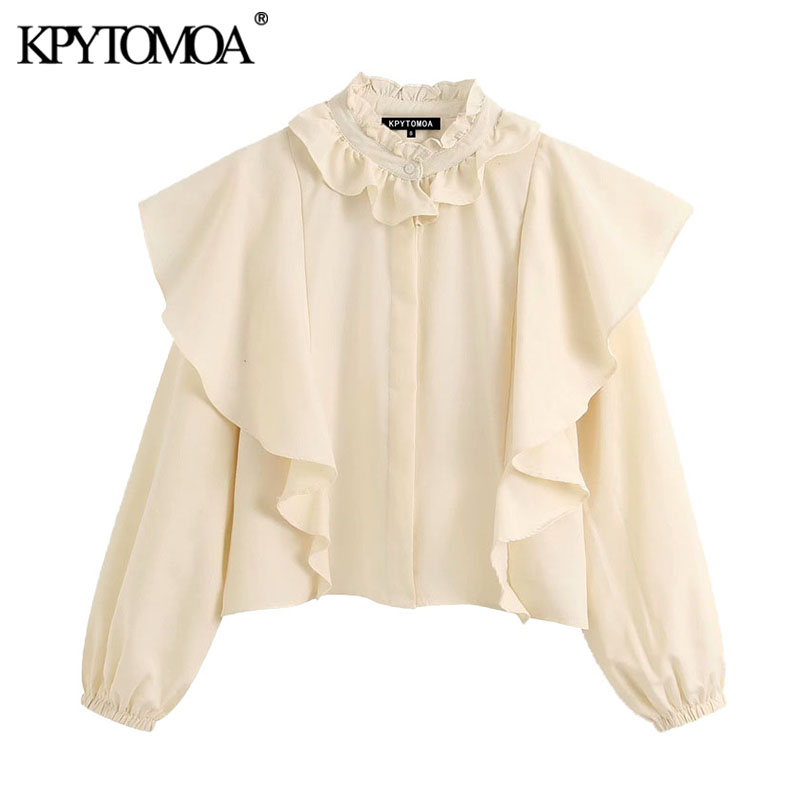 KPYTOMOA Women 2020 Elegant Fashion Office Wear Ruffled Blouses Vintage Long Sleeve Buttons Female Shirts Blusas Chic Tops