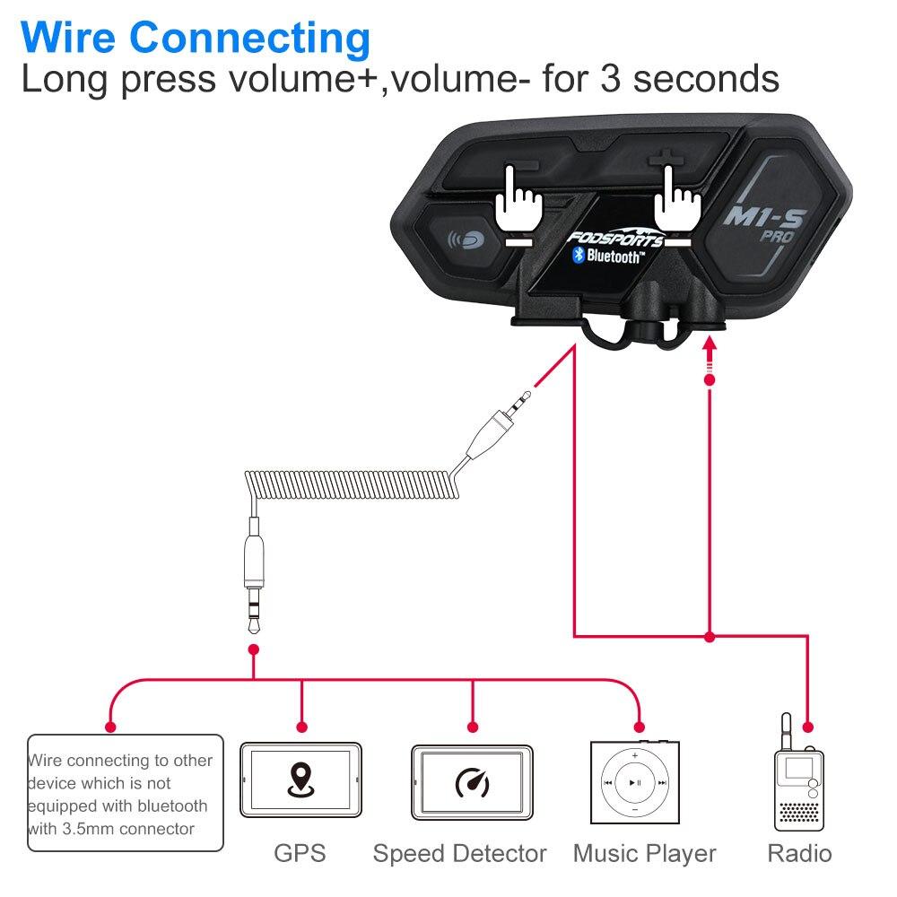 2 sztuk Fodsports motocykl Bluetooth 4.1 kask zestaw słuchawkowy z interkomem wodoodporna M1-S Pro bezprzewodowy intercomunicador Interphone MP3