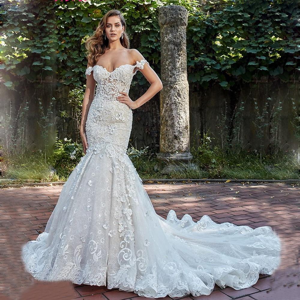 Boat Neck Vestido De Noiva Luxury Lace Embroidery Mermaid Bride Wedding Dress 2019 New Bridal Gown Sexy Backless Robe De Mariee