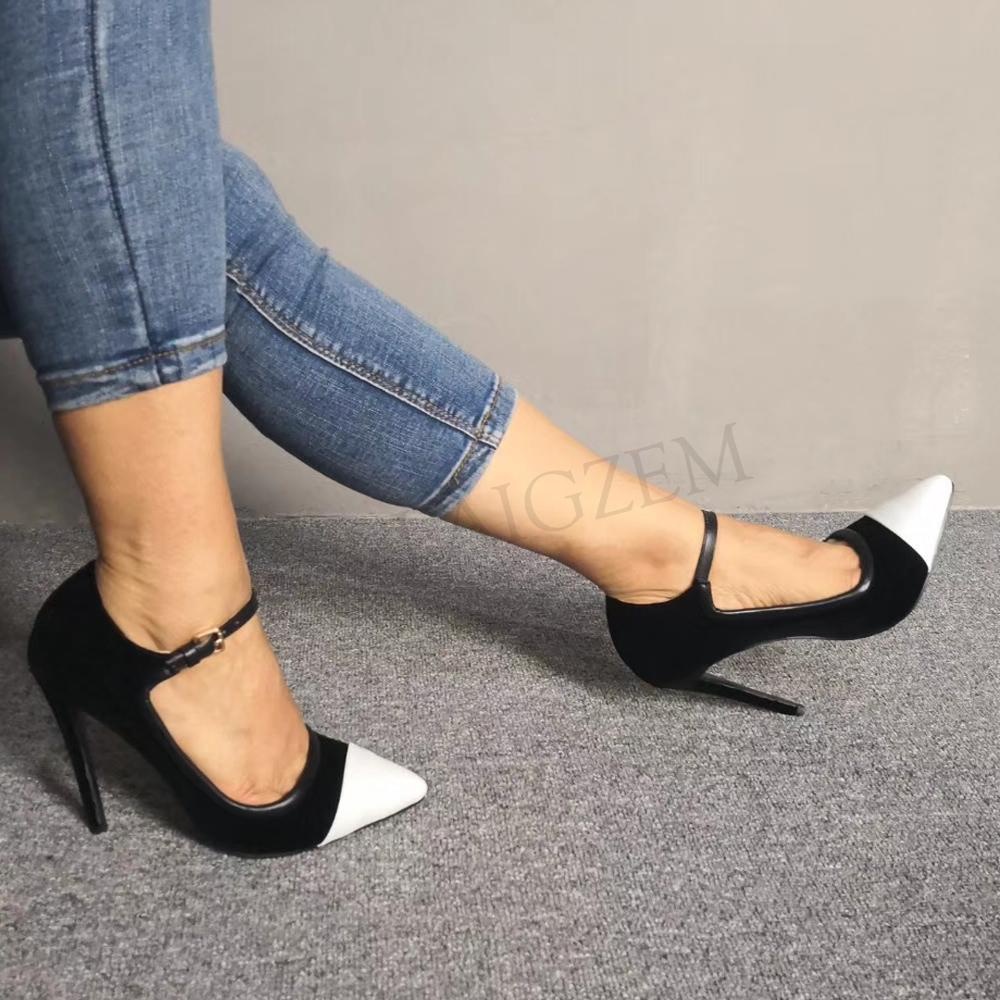LAIGZEM Frauen Heels Pumpen Patchwork Pointey Stiletto Mary Jane Sandalen Damen Grundlegende Schuhe Frau Zapatos Mujer Große Größe 34 47-in Damenpumps aus Schuhe bei  Gruppe 3