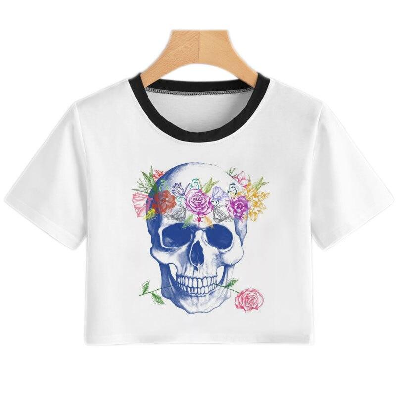 Robot Skull Print Woman Tshirts Streewear Women's Summer Harajuku Fun Fashion T Shirt Women Crop Top Casual Short Sleeve T-shirt
