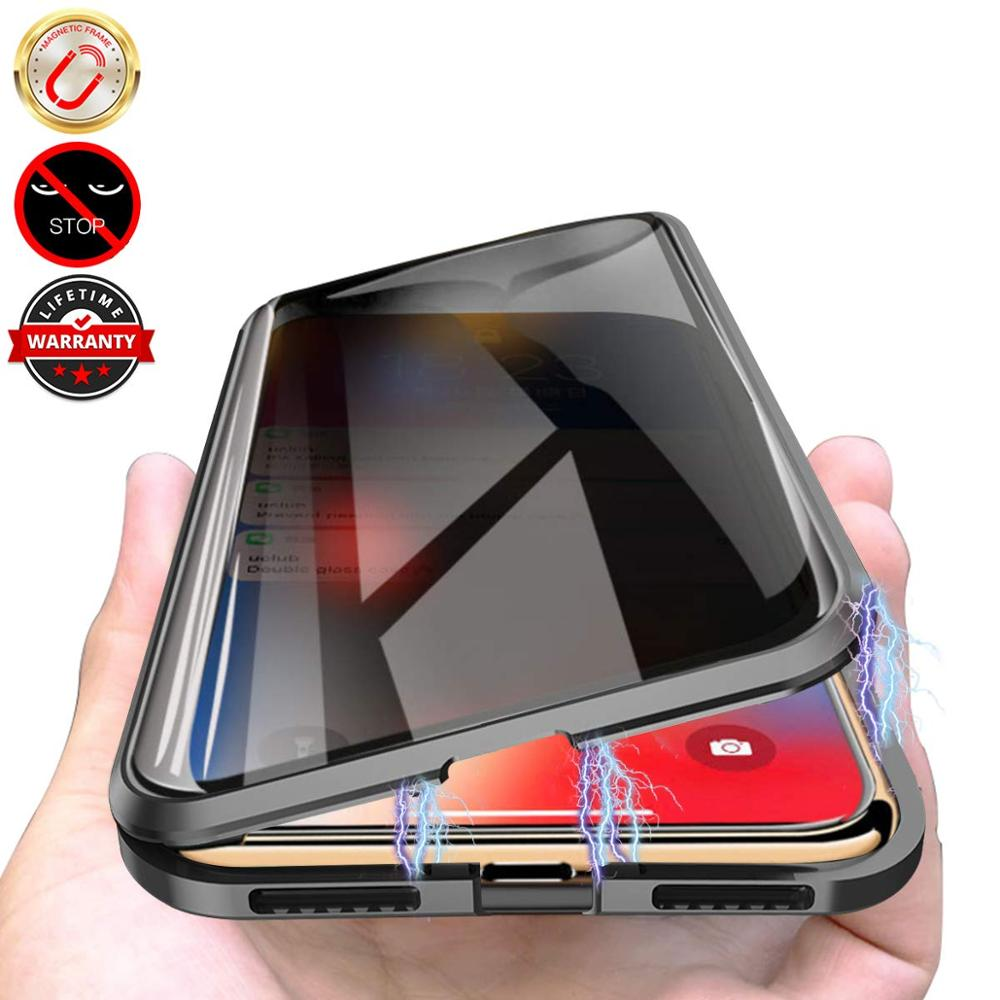 Privacy Magnetic <font><b>Case</b></font> for <font><b>iPhone</b></font> XS Max XR X Double Sided Tempered Glass Metal <font><b>Bumper</b></font> Anti-Peeping <font><b>Case</b></font> for <font><b>iPhone</b></font> 7 8 6s <font><b>6</b></font> Plus image