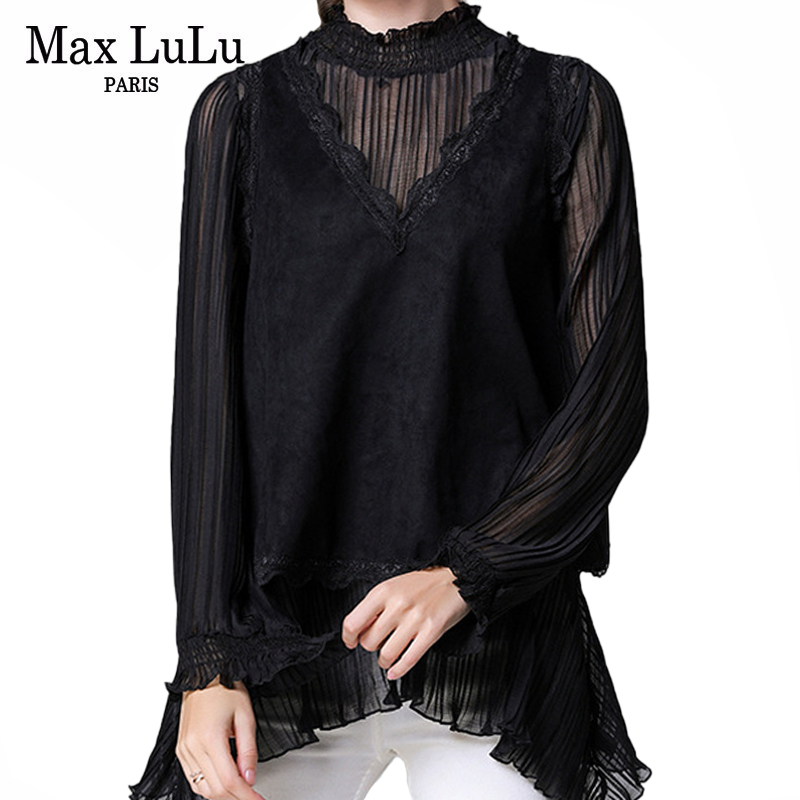Max LuLu 2020 Fashion Spring Ladies Lace Shirts Womens Loose Chiffon Tops And Blouses Female Patchwork Casual Streetwear Clothes