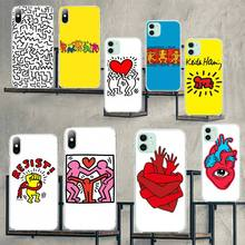 HPCHCJHM Keith Haring art Cover DIY Painted Bling Phone Case for iPhone 11 pro XS MAX 8 7 6 6S Plus X 5S SE 2020 XR cover coach x keith haring бумажник