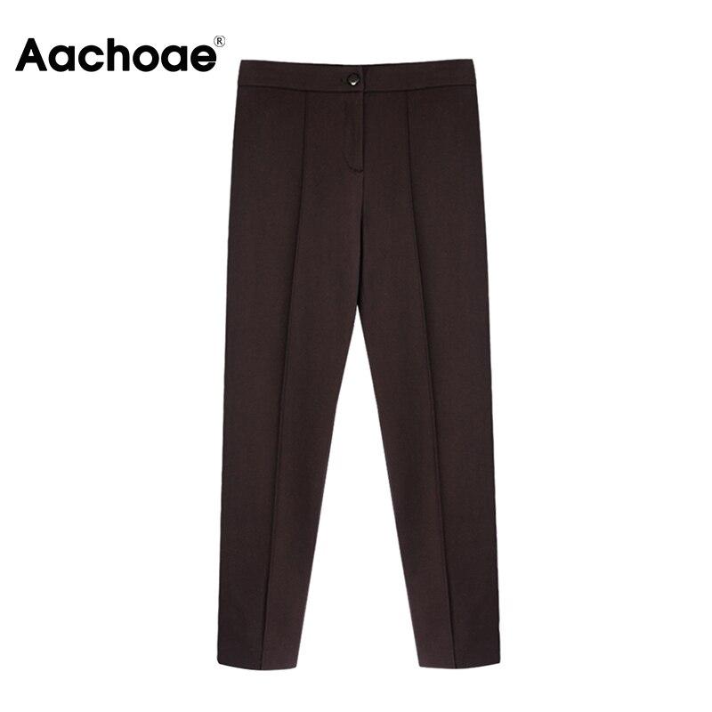 Aachoae Women Solid Elegant Pants Leggings Pleated Side Leg Split Pencil Pants Lady Zipper Fly Casual Skinny Trousers Pantalon 5