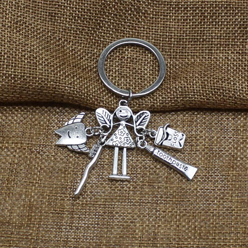 Personality Creative Dentist Keychain, Fairy Wallet, Dental Surgery Amulet, Unique Hygiene Fairy Birthday Gift Jewelry Keychain