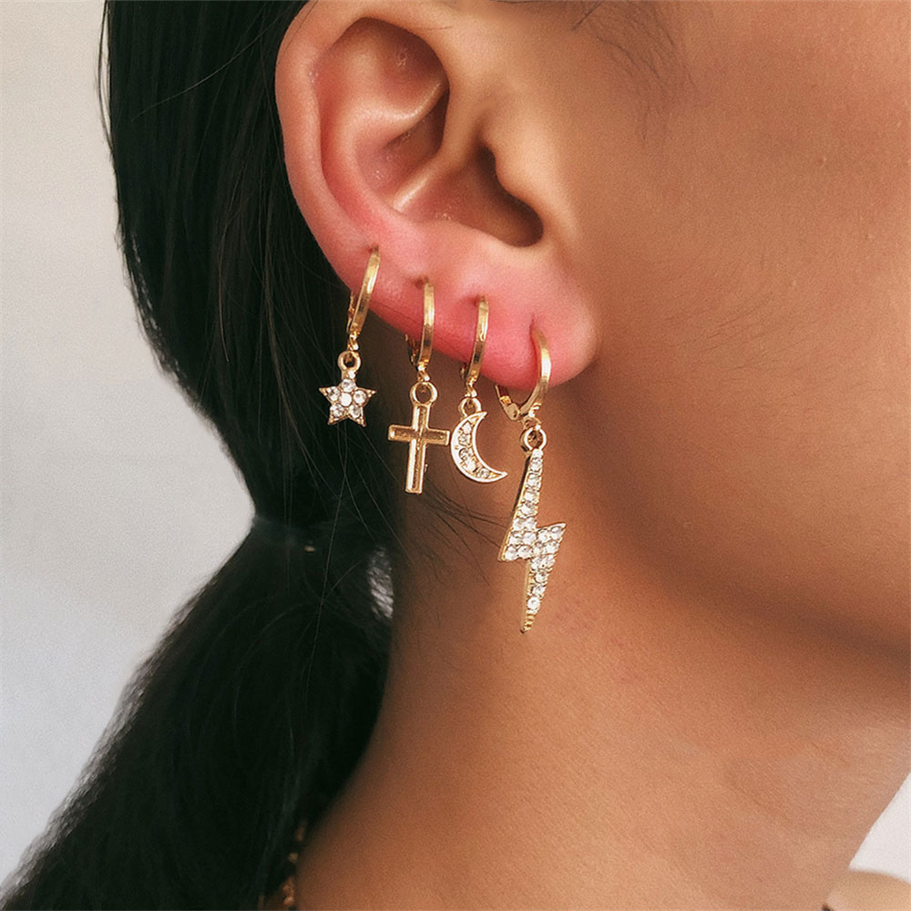 Personality Cross Dangle Earrings Rhinestone Crystal Star Moon Lightning Drop Earrings Ting Hoop Earrings for Women Jewelry Gift