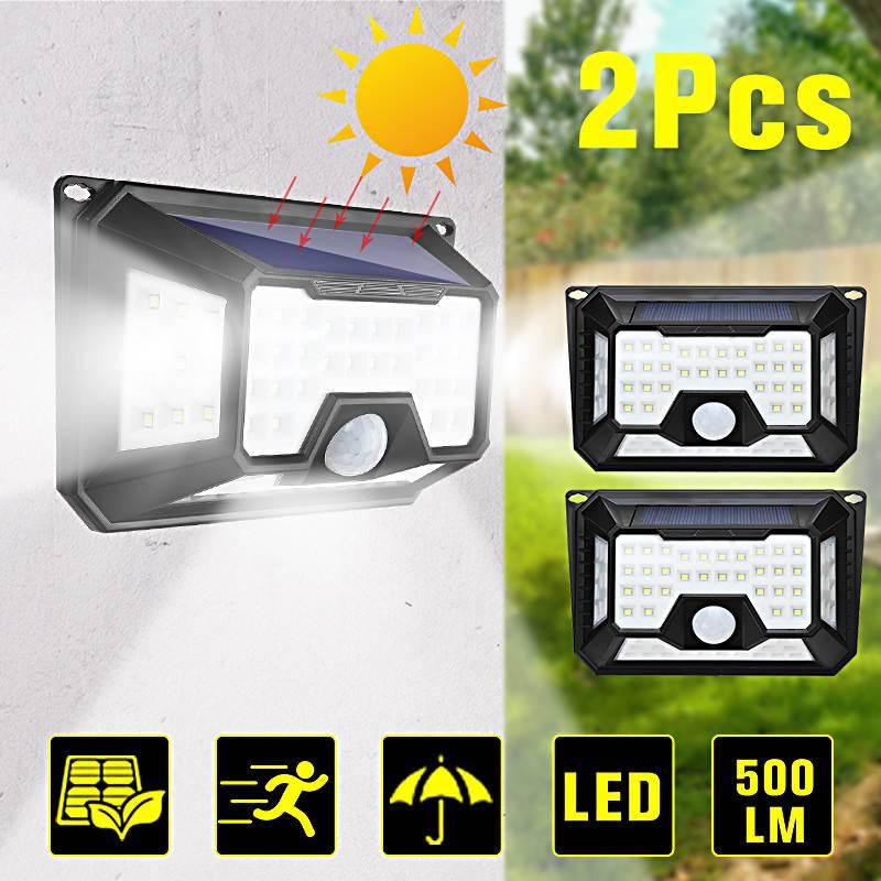 66/136LED Solar Lights Outdoor 4 Sides Lighting 3 Optional Modes Waterproof Ultra-Bright Wireless Motion Sensor Security Light