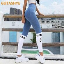 Ladies Yoga Pants Striped Letters Seamless Legs Tie Peach Hip Yoga Pants Sports High Waist Full Length Fitness Leggings Fitness