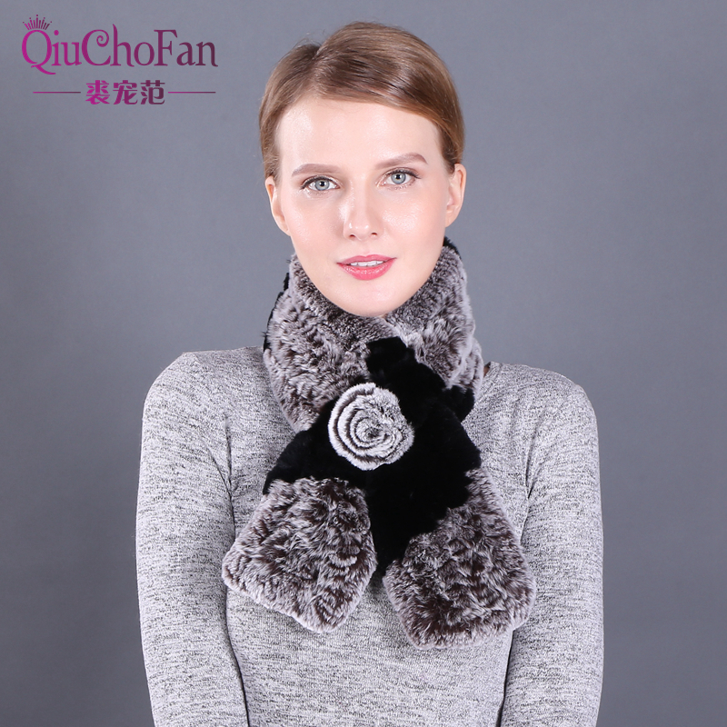 Real Rabbit Fur Scarf Female Luxury Brand Scarf Genuine Fur New 2018 Elegant Natural Rex Rabbit Fur Women Scarves Winter