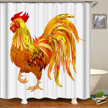 цена на Cartoon color chicken print shower curtain polyester waterproof shower curtain high quality decorative curtain