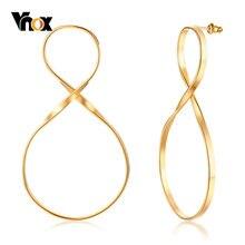 Vnox Rock – boucles d'oreilles en forme de grande Infinity pour Femme, bijou Long en acier inoxydable, couleur or