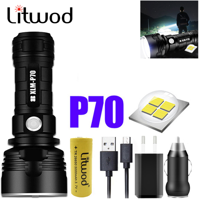 LIitwod  Xhp70.2 250000cd Powerful LED Flashlight USB Rechargeable 18650 26650 Battery Brightest  Torch Lamp For Camping Fishing