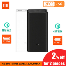 цена на Original Xiaomi Mi  20000mA Power Bank 5V 2A Dual USB Ports Fast Charging Portable Universal Powerbank External Battery Pack