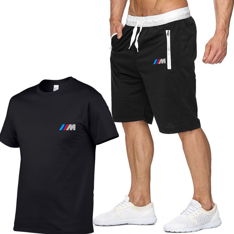M Print T shirt+Shorts Suit M3 M5 3 5 7 X1 X3 X4 X5 X6 330i Z4 GT 760li E30 E34 E36 E38 Sportswear Harajuku Hip-Hop Swag Tshirt
