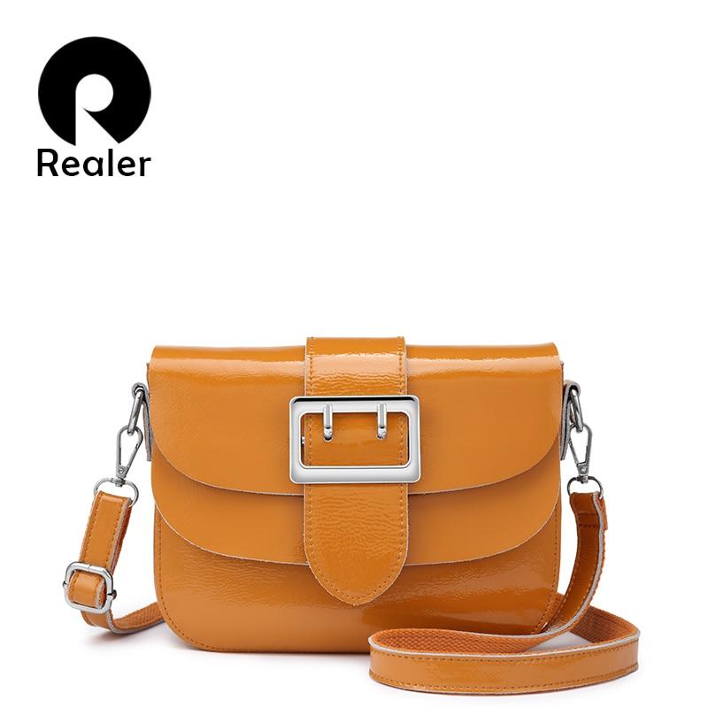 REALER brand patent leather handbags for women fashion messenger bag women high quality Chain shoulder bag