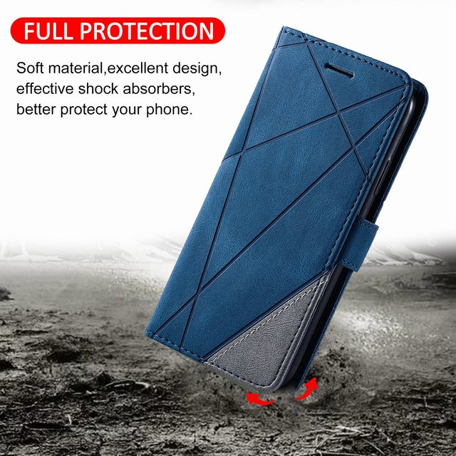 Stand Business Phone Holster For Etui Xiaomi 11 Poco X3 Nfc M3 Redmi Note 10 Pro 7 7A 8 8A 8T 9 Stripe Wallet Rhombus Case D21G 3