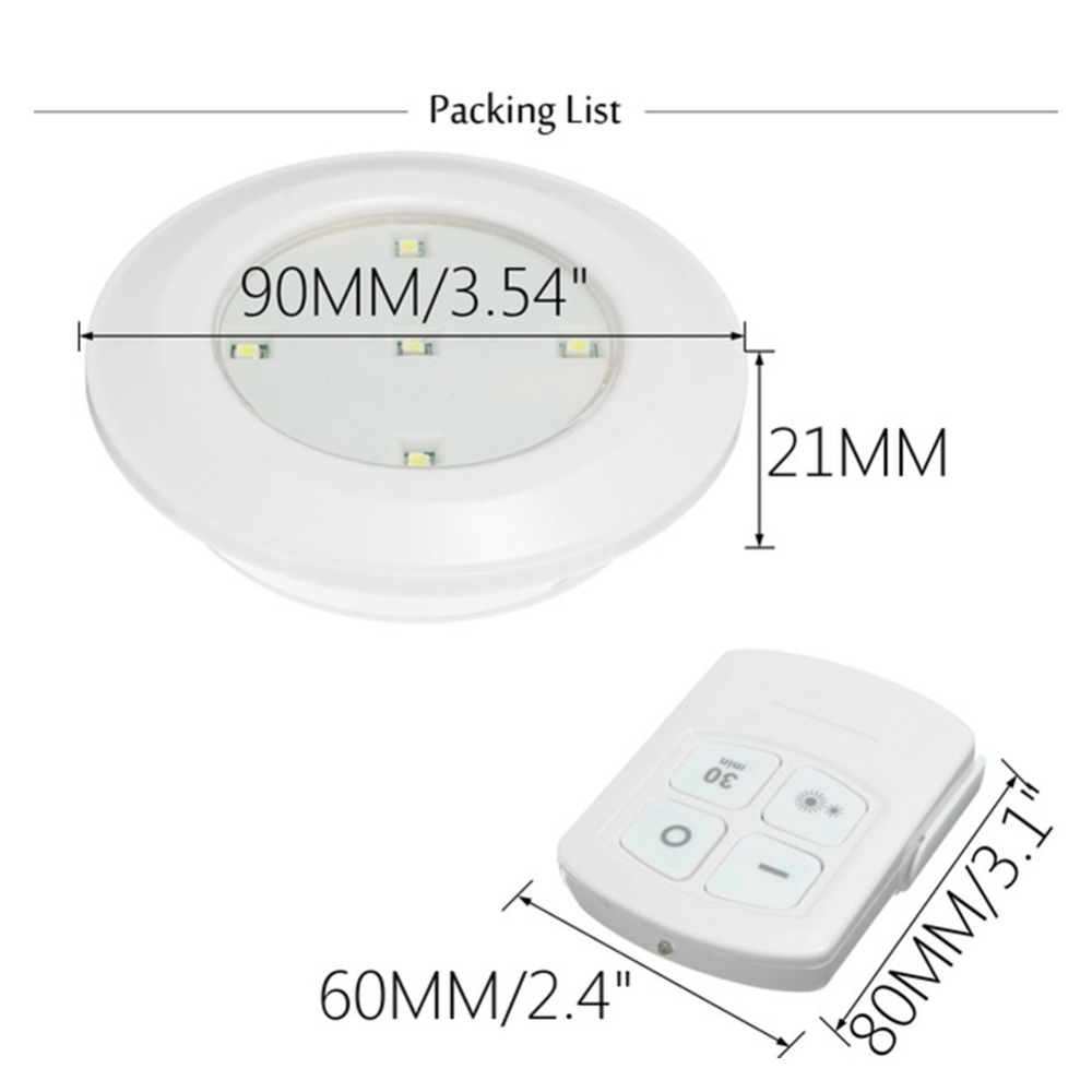 Hc877df682cf5438da6c93b5a48869668I - 3/6Pcs LED Touch Control Round Cabinet Light Intelligent Remote Control Light Indoor Lighting Lamp Night Lamp