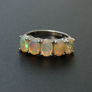 Image 2 - Opale ensemble de bijoux naturel multicolore pierre gemme ovale 5*7mm avec 925 bague en argent sterling et boucle doreille bijoux fins pour femme femme