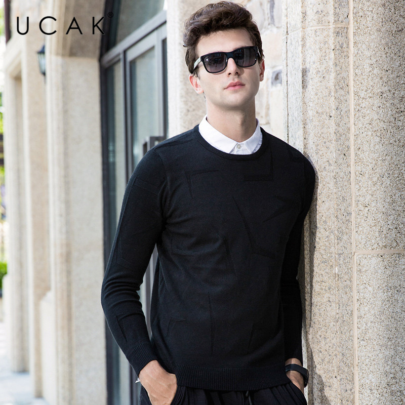 UCAK Brand Sweater Men Casual Shirt Collar Twinset Pull Homme Knitwear Pullover Men Winter Thick Warm Cotton Jersey Hombre U1019