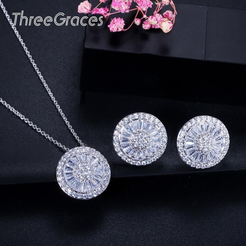 ThreeGraces Fashion CZ Dámské šperky Perfektní Kulatý tvar Kubický Zirconia Micro Pave Módní náhrdelník náušnice sada pro ženy JS201