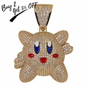 Image 2 - Ожерелье с подвеской 3D Kirby для мужчин и женщин, украшение в стиле хип хоп с теннисной цепью, цвет под золото, драгоценности в подарок
