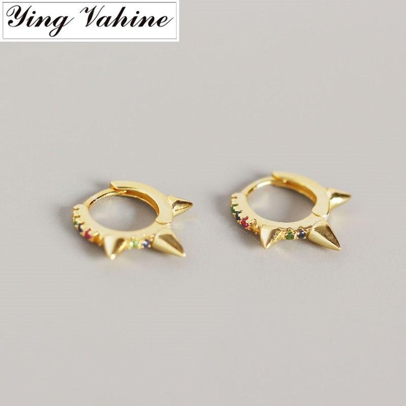 Ying Vahine 100% 925 argent Sterling multicolore CZ Mini Zircon Rivet boucles d'oreilles pour les femmes